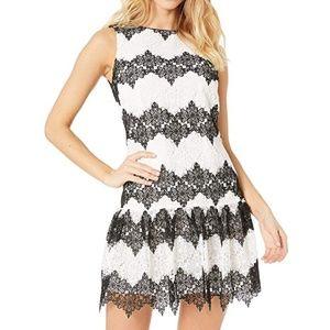 Betsey Johnson Black White Lace Fit & Flare Dress